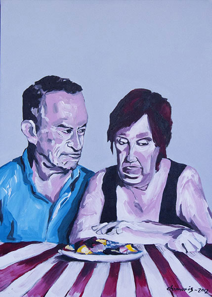 """Hungern 5"" Acrylic on canvas 50 x 70 cm. 2012 -"